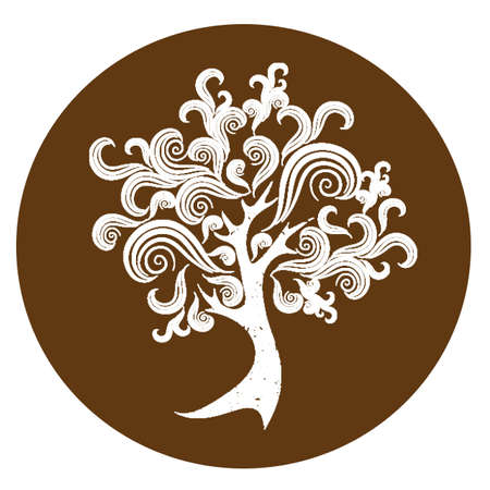 tree outline: tree on brown background