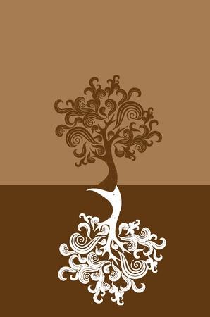 oak tree silhouette: tree on brown background