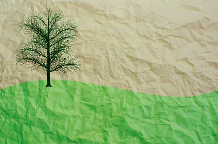 cut grass: tree on recycle paper Stock Photo