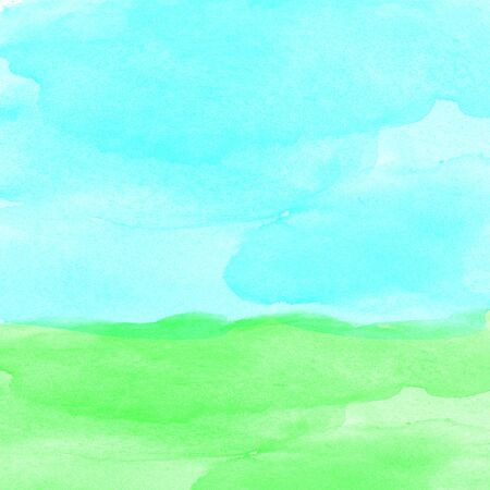 green field and blue sky watercolor photo