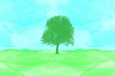 hand made: tree on watercolor background
