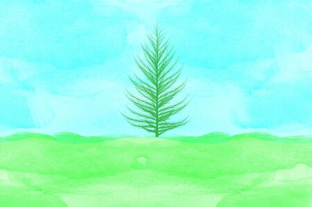 tree on watercolor background photo