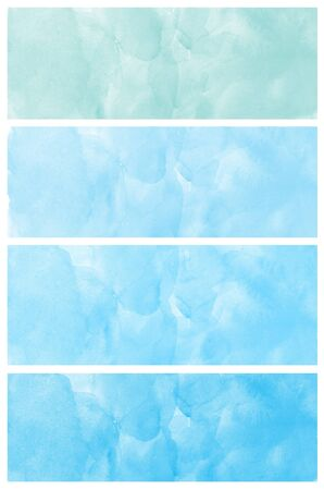 Set of abstract blue watercolor hand painted  photo