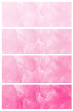 multilayer: Set of abstract pink watercolor hand painted
