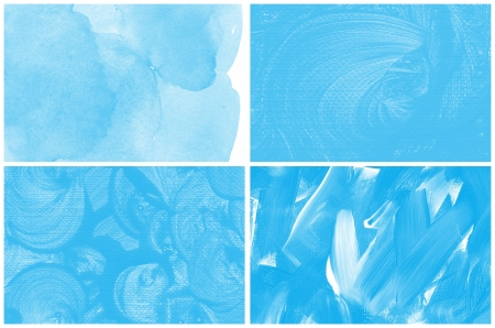 Set of blue watercolor abstract hand painted backgrounds