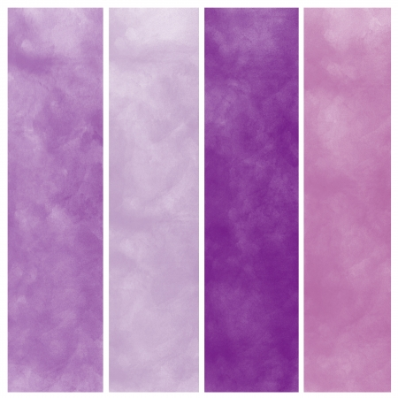 Set of purple watercolor abstract hand painted backgrounds photo