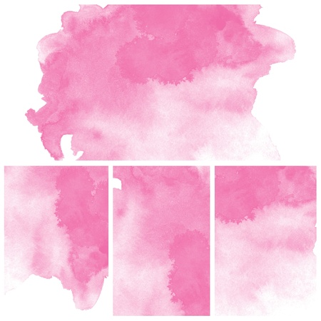 Set Of Pink Abstract watercolor background Stock Photo