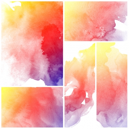 Set Of Abstract watercolor hand painted background Stock Photo - 15375784