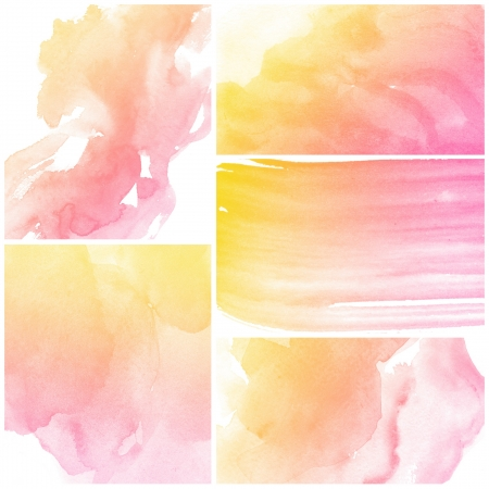 watercolor paper: Set of colorful abstract art water colour hand paint background Stock Photo