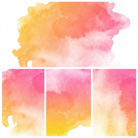 colour intensity: Set of colorful abstract art water colour hand paint background Stock Photo