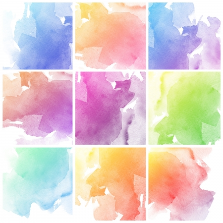 color effect: Set of colorful Abstract water color art hand paint background