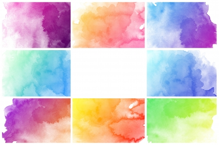 watercolor background: Set of colorful Abstract water color art hand paint background