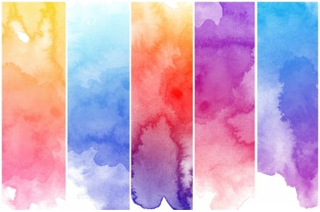 vivid colors: Set of colorful Abstract water color art hand paint background