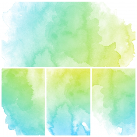 green and yellow: Set of colorful Abstract water color art hand paint background