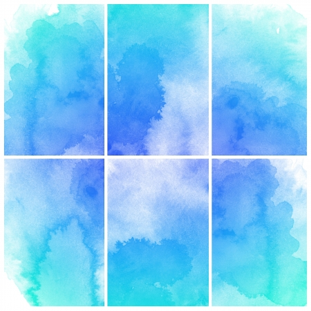 blue watercolor: Set of colorful Abstract water color art hand paint background