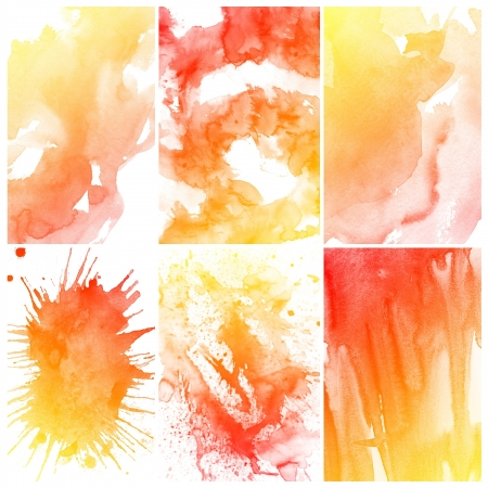 Set of colorful Abstract water color art hand paint background Stock Photo - 16291785