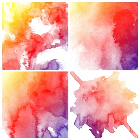 ink spot: set of colorful Abstract water color art hand paint on white background