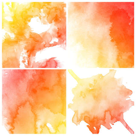 purple love: set of colorful Abstract water color art hand paint on white background
