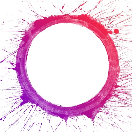 circle abstract: Abstract colorful splash circle watercolor art hand paint on white background