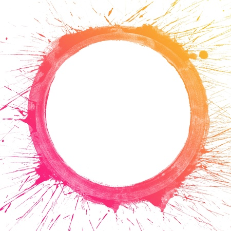 Abstract colorful splash circle watercolor art hand paint on white background photo