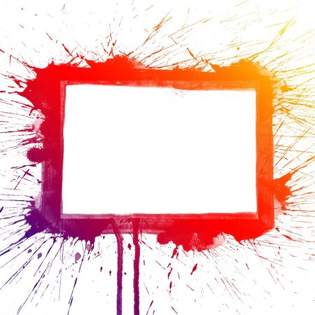 colour intensity: Abstract colorful splash square watercolor art hand paint on white background