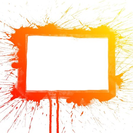 intense: Abstract colorful splash square watercolor art hand paint on white background