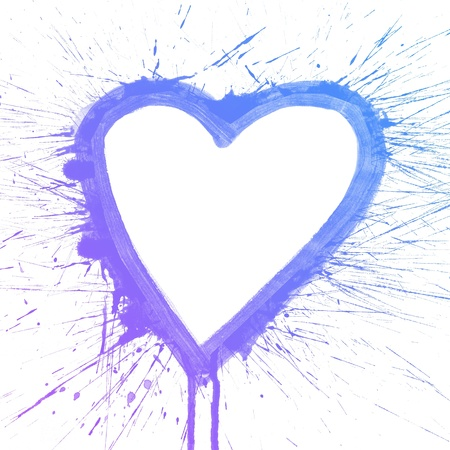 Abstract colorful splash heart watercolor art hand paint on white background photo