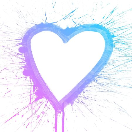 purple heart: Abstract colorful splash heart watercolor art hand paint on white background Stock Photo