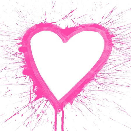 Abstract pink splash heart watercolor art hand paint on white background photo