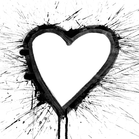 Abstract colorful black splash heart watercolor art hand paint on white background photo