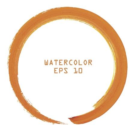 grunge cross: Astratto colorato acquerello mano di vernice cerchio su sfondo bianco
