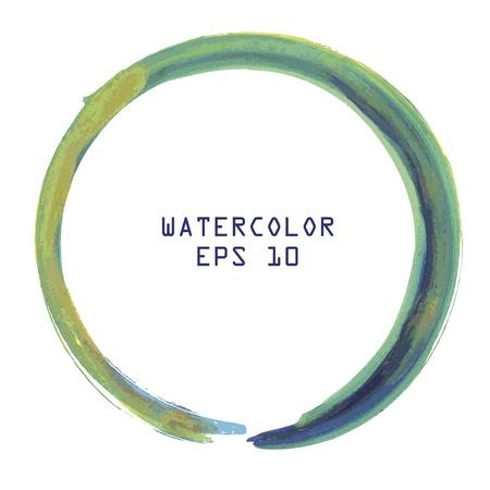 흰색 배경에 추상 다채로운 수채화 원 핸드 페인트