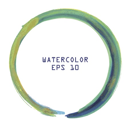 circle design: Abstract colorful watercolor circle hand paint on white background