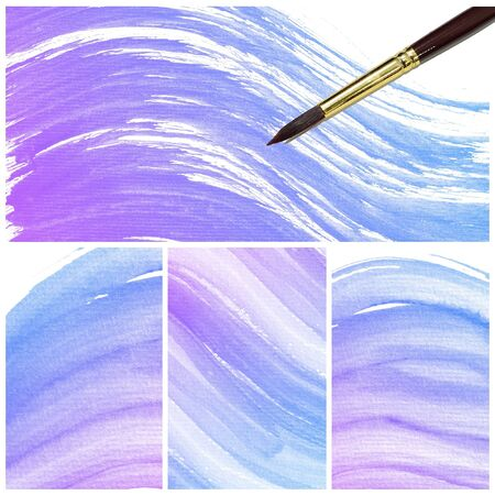 degraded: Set of colorful Abstract water color art hand paint background with artist brush