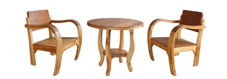 Set of Wooden Chairs and Table photo