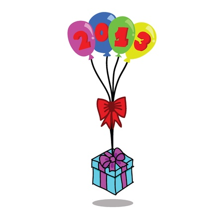 Colorful balloons & gift box on white background Stock Vector - 16506337