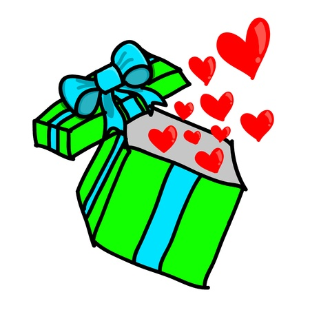 Opened colorful gift box with hearts Vector