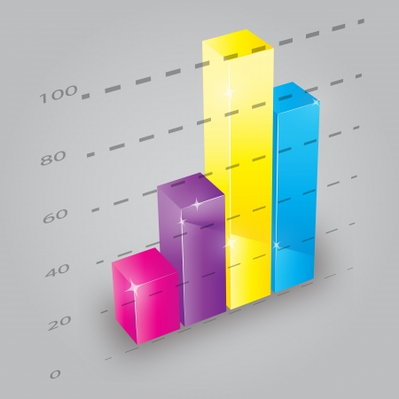 Colorful 3D bar chart, vector illustration Vector
