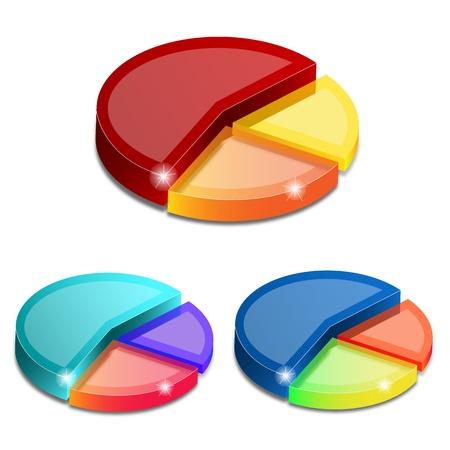 Gráficos de sectores en 3D sobre fondo blanco, ilustración vectorial Ilustración de vector
