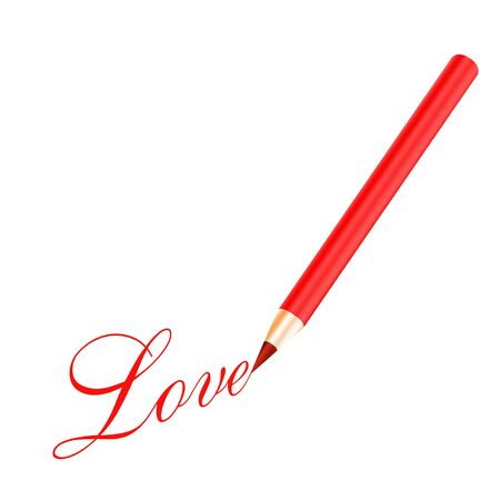 Red pencil and red love letter isolated on white background Vector