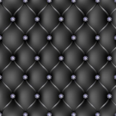 tufted: Black leather upholstery pattern background, vector illustration