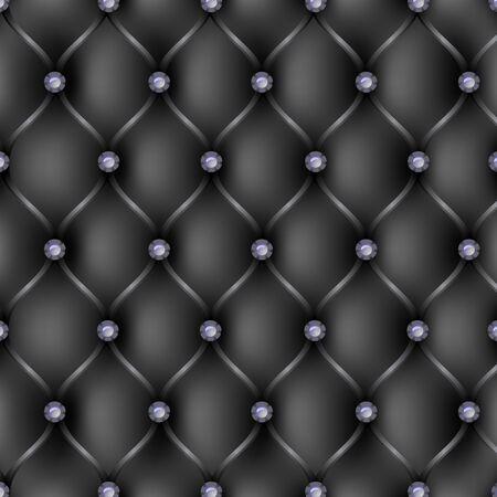 sofa viejo: Tapicer�a de cuero negro patr�n de fondo, ilustraci�n vectorial