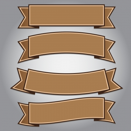 茶色いリボンをビンテージ バナー分離、ベクトル イラスト