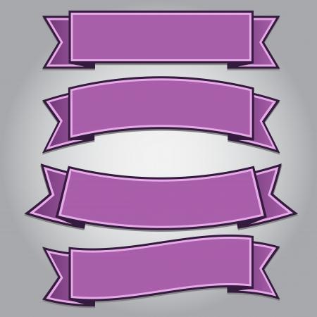 分離された紫リボン バナーの設定、ベクトル イラスト