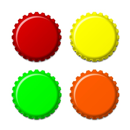 bottle cap: Set of bottle caps in colors isolated on white background, vector illustration