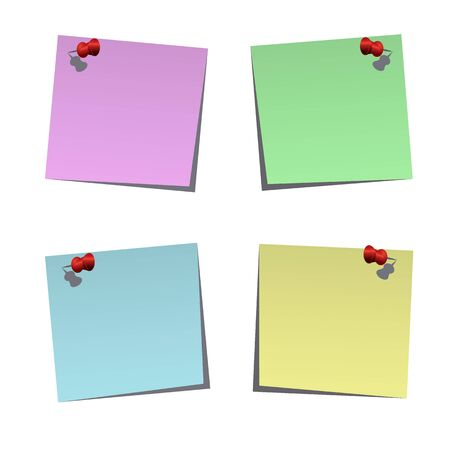 Set of blank post-it notes with push pins, vector illustration Stock Vector - 17581102