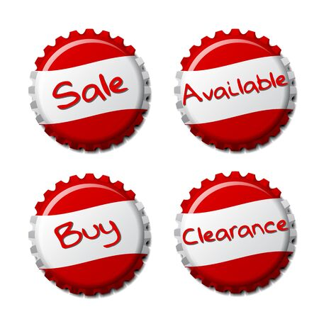 Set of red bottle caps isolated on white background, vector illustration