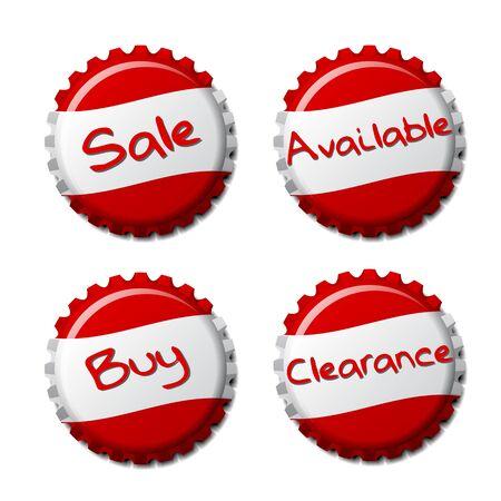 Set of red bottle caps isolated on white background, vector illustration