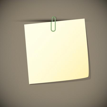 Verde leer nota de papel con clip Ilustración de vector