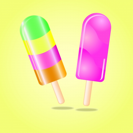Multi flavored ice cream bar on a stick,  illustration Stock Vector - 17800634